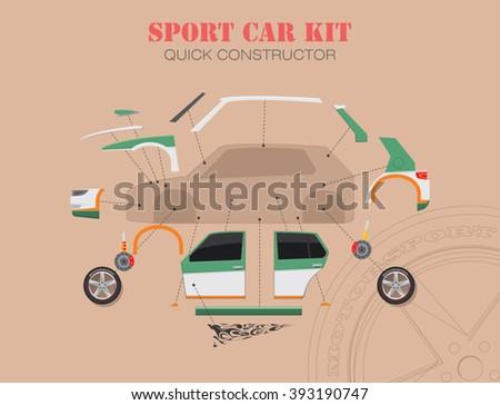Sports car spare parts components. Car servicing and spare parts concept. Sport car build scheme. Vector illustration - stock vector