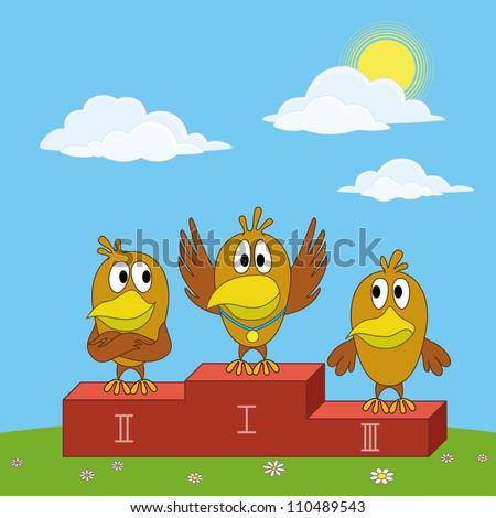 Sports cartoon: birds chickens sportsman standing on a pedestal on green glade. Vector illustration - stock vector