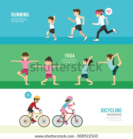 sports design health concept people exercise set , cycling, running, yoga. with flat icons. vector illustration - stock vector
