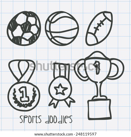 sports doodles design, vector illustration eps10 graphic  - stock vector