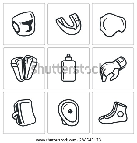 Sports Equipment for martial arts icons set. Vector Illustration. Isolated Flat Icons collection on a white background for design - stock vector