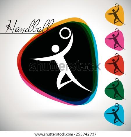 Sports Event icon/symbol - Handball. 1 Multicolor and 5 monotone options. - stock vector