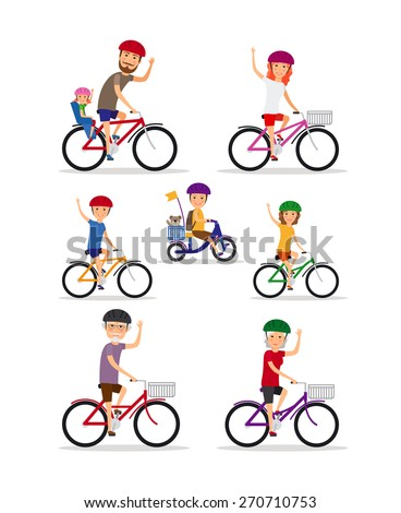 Sports family. Mom, Dad and kids ride bikes. Daughter and son, grandmother and grandfather, vector illustration - stock vector