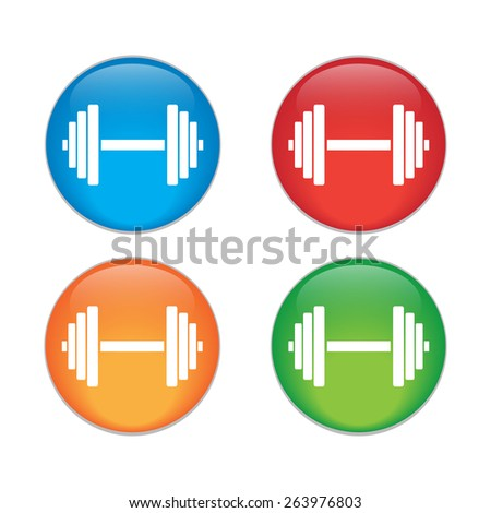 Sports gym equipment. Dumbbell - Vector icon isolated - stock vector
