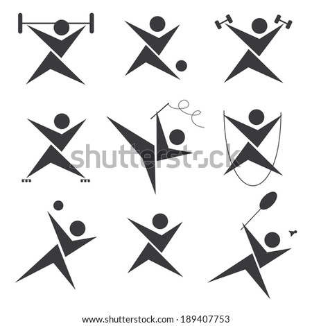 Sports icon set in gray - stock vector