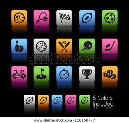 Sports Icons // Color Box------It includes 5 color versions for each icon in different layers ------ - stock vector