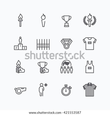 sports icons flat line design vector - stock vector