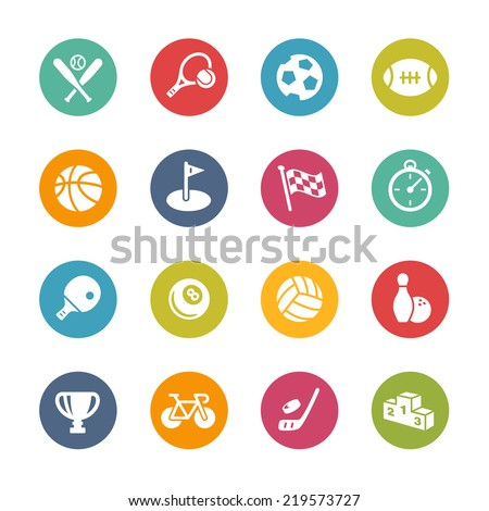 Sports Icons // Fresh Colors Series - stock vector