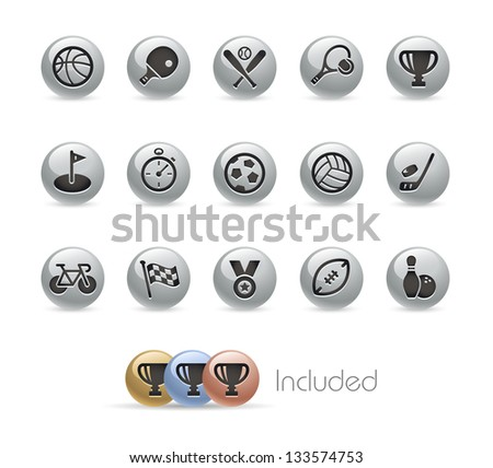 Sports Icons // Metal Round Series --- It includes 4 color versions for each icon in different layers--- - stock vector