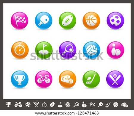 Sports Icons // Rainbow Series - stock vector