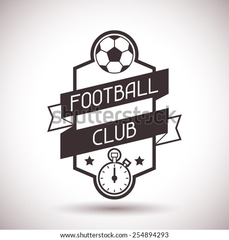 Sports label with football symbols on background. - stock vector