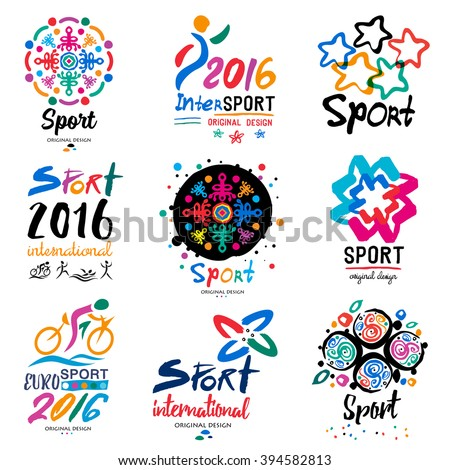 Sports logo. Sports organization symbols and signs. The competition logotype. Illustration handmade paints and inks. - stock vector