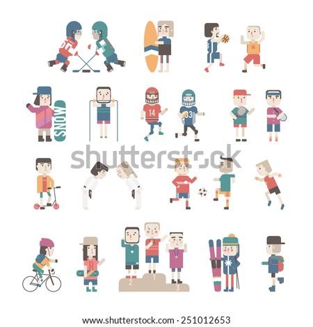 Sports People set, vector eps10 illustration - stock vector
