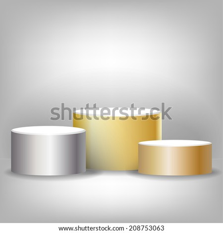 Sports podium for the first, second and third place - stock vector
