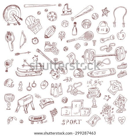 Sports. Set of sports equipment. Hand Drawn Doodles Vector illustration. - stock vector