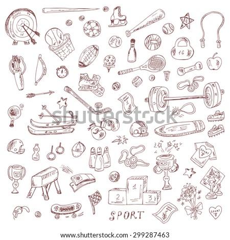 Sports. Set of sports equipment. Hand Drawn Doodles Vector illustration. - stock vector
