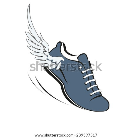Sports shoes for running, running shoe with a wing. Vector illustration. - stock vector
