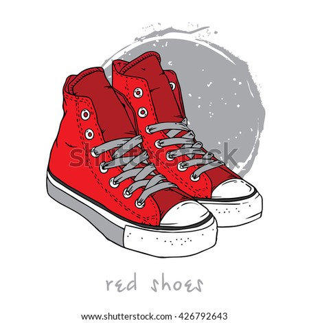 Sports shoes red sneakers - stock vector