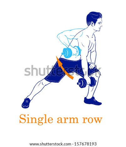 Sports silhouettes. Workout, man in shorts doing sport. Arm row - stock vector