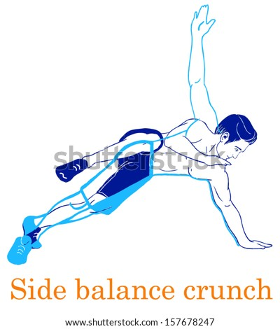 Sports silhouettes. Workout, man in shorts doing sport. Side balance crunch - stock vector