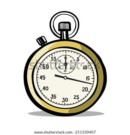 Sports stop watch. A children's sketch. Color image. - stock vector