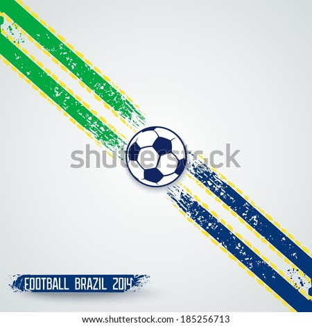 Sports template with grunge stripes on diagonal and soccer ball in center. Vector eps10 - stock vector