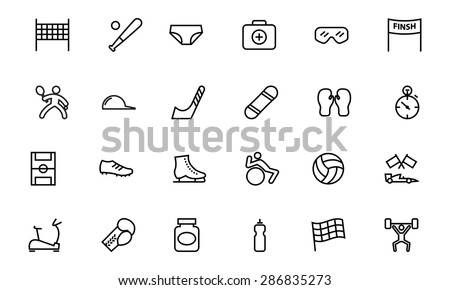 Sports Vector Line Icons 3  - stock vector