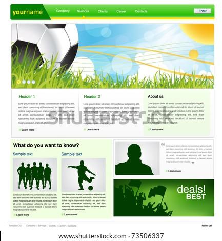 sports web site design template - vector illustration - stock vector