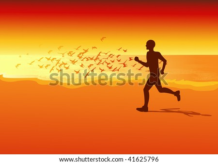 Sportsman running on the beach in the sunset,  vector illustration - stock vector