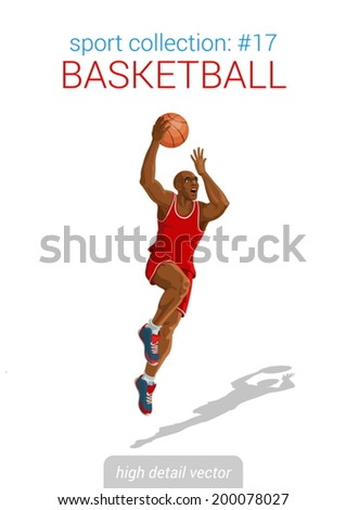 Sportsmen vector collection. Basketball black man player slam dunk jump with ball. Sportsman high detail illustration.  - stock vector