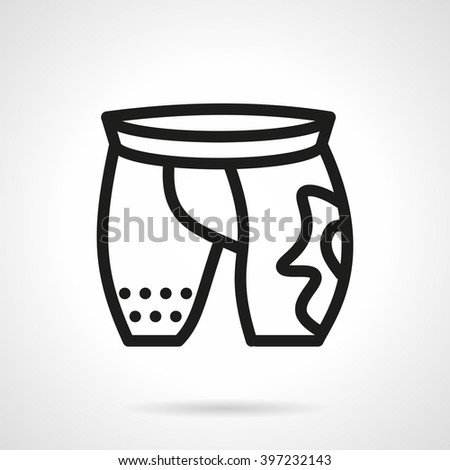 Sportswear. Abstract cycling shorts with image or emblem. Activity lifestyle. Accessories and outfit for athletes. Vector icon simple black line style. Single design element for website, business. - stock vector