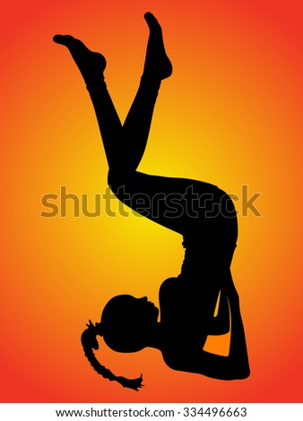 Sporty girl doing shoulder stand exercise, Upside-Down Seal pose, yoga for relieving stress - stock vector
