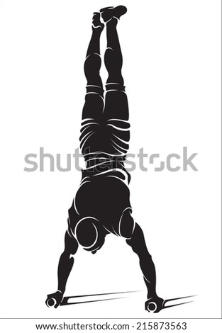 Sporty man doing street workout exercise. Handstand. Vector illustration.  - stock vector