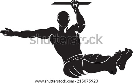 Sporty man doing street workout exercise. Vector illustration. - stock vector