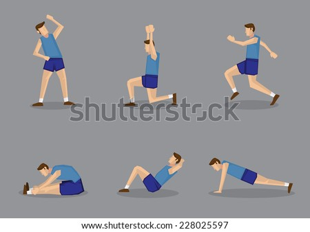 Sporty man in blue singlet and shorts doing stretching and warming up exercises. Vector illustration set isolated on grey background. - stock vector