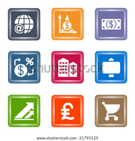 Spot color web icons, set 23 - stock vector