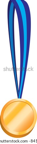 Spot illustration of a gold medal with a blue ribbon - stock vector