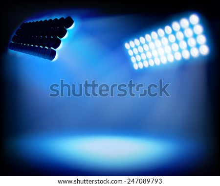 Spot lighting on the stadium. Vector illustration. - stock vector