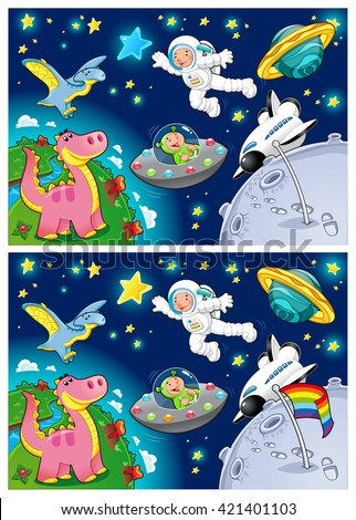 Spot the differences. Two images with five changes between them. Vector cartoon illustration. - stock vector