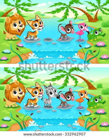 Spot the differences. Two images with six changes between them, vector and cartoon illustrations - stock vector