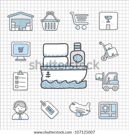 Spotless series | Hand drawn delivery,transportation icon set - stock vector