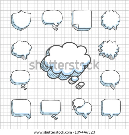 Spotless Series | Hand drawn Speech ,Thought Bubbles icon set - stock vector