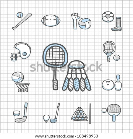 Spotless series | hand drawn sport icon set - stock vector