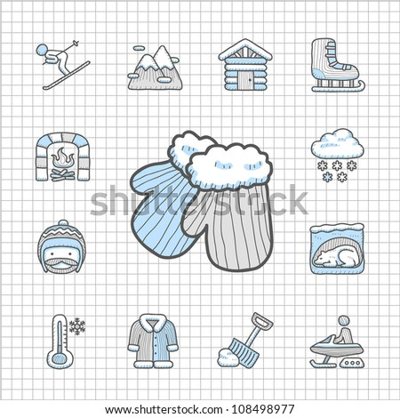 Spotless series | Hand drawn Winter icon set - stock vector