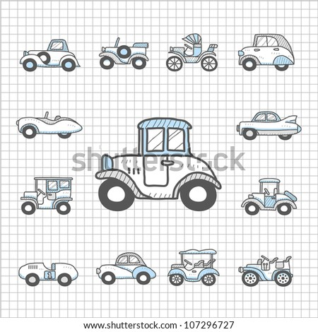 Spotless Series | old cars,transportation , automobile, icon set - stock vector