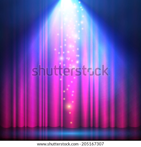 Spotlight on red curtain. Vector illustration - stock vector
