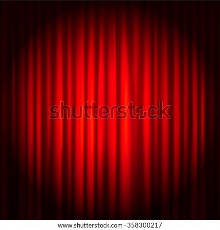 Spotlight on red stage curtain. Vector illustration. - stock vector