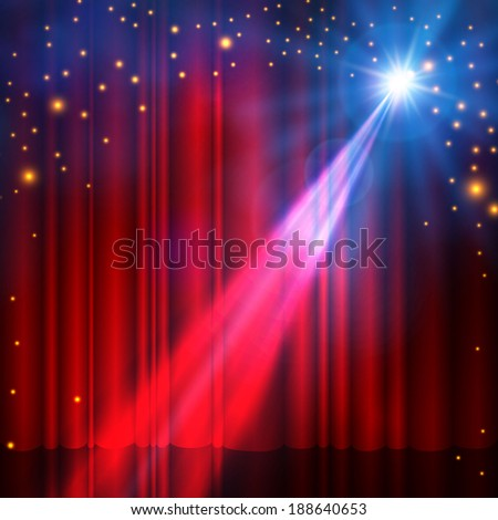 Spotlight on red stage curtain with smoke & lights. Vector illustration.  - stock vector