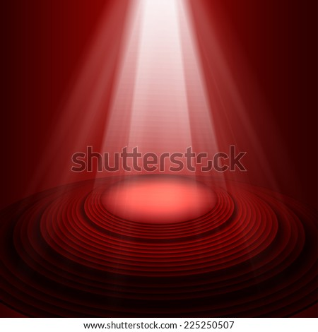 Spotlight on stage red. Vector background - stock vector