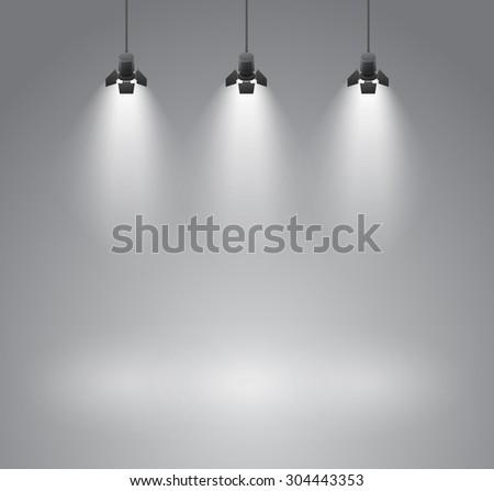 Spotlight photo studio gray background with spot - vector illustration - stock vector